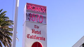 Vacancy at Hotel California LOS ANGELES. Vacancy at Hotel California City of Los Angeles California stock video