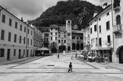 Cycle in city. Vittorio Veneto, Italy in black an white Stock Photo