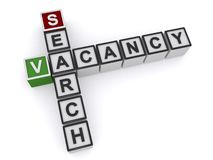 Vacancy search heading. Vacancy search crossword heading on white background vector illustration
