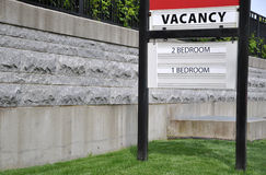 Vacancy Sign. For renting apartment stock photos