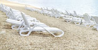 Vacant beach. By Ada Ciganlija lake in Belgrade stock photo