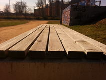 Vacant bench in Pilsen Royalty Free Stock Photography