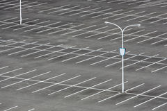 Vacant car parking lot. With white mark and light pole Royalty Free Stock Photos