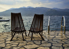 Vacant chairs at the Adriatic beach Royalty Free Stock Photo