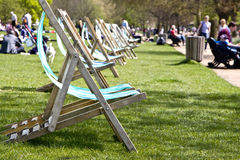 Vacant Deck Chairs Stock Photo