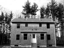 Vacant house. On edge of woodland - black and white Stock Photography