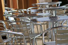 Vacant metal chairs and tables Royalty Free Stock Photos