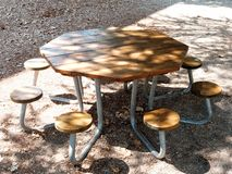 Vacant Octagonal Table park. Vacant Octagonal Table at park stock photo