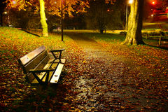 Vacant park bench in autumn Stock Photography