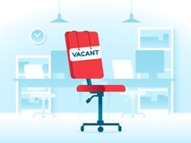 Vacant position job in creative office. Business vacancy hiring and work positioning. Vacancies vector concept. Vacant position teamwork job in creative office royalty free illustration