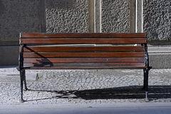 Vacant public bench in the street Stock Photography