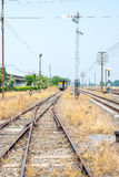 Vacant Rail way switch track with yellow die grass Royalty Free Stock Photo