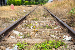 Vacant Rail way switch track with yellow die grass Royalty Free Stock Photography
