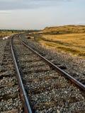 Vacant Railroad Tracks in Prairie Field Broomfield Colorado Stock Photo