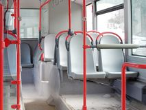 Vacant seats bus public transportation interior shot. Vacant seats in bus public transportation interior shot Stock Image