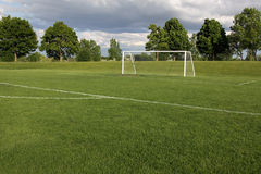 Vacant Soccer Pitch. A view of a net on a vacant soccer pitch Stock Images