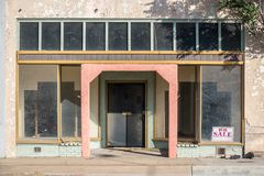 Vacant Storefront. A vacant storefront in the small Arizona mining town of Miami. It has experienced a slow population decline since its heyday in the early stock photo
