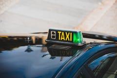 Vacant taxi detail. Barcelona, Spain. Horizontal shot Royalty Free Stock Image