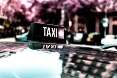 Vacant taxi detail. Barcelona, Spain. Infrared shot Royalty Free Stock Images