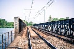 Vacant Train Track Bridge Royalty Free Stock Photography