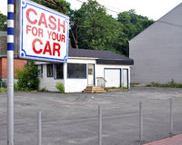Vacant used car lot. Gone out of business Stock Photos
