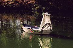 Vacant Wedding boat on a river. Royalty Free Stock Images