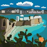 Vacanza al paesaggio del mare con i cactus e la cartolina di vektor della spiaggia rocciosa del mare illustrazione vettoriale