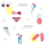 Vacanza del mare Insieme disegnato a mano sveglio di estate degli elementi Fotografia Stock Libera da Diritti