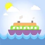 Vacanza dell'oceano di estate della fodera della nave da crociera illustrazione di stock