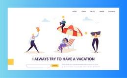 Vacanza della spiaggia per i caratteri di affari corporativi che atterrano pagina Responsabile di ufficio felice Relax con il coc illustrazione di stock