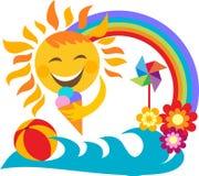 Vacanza di estate; gelato felice della holding del sole Immagine Stock Libera da Diritti