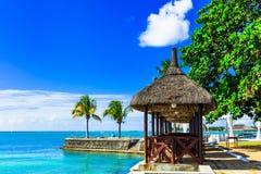 Vacanza di lusso nell'isola tropicale delle Mauritius delle località di soggiorno fotografia stock libera da diritti