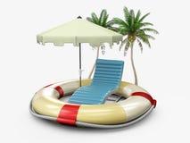 vacanza estiva con gli accessori della spiaggia e di salvagente, illustrazione 3d royalty illustrazione gratis