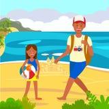 Vacanza estiva sull'illustrazione di colore di vettore della spiaggia royalty illustrazione gratis