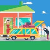 Vacanza felice delle coppie Viaggio di estate in macchina Vettore illustrazione di stock