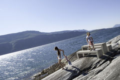 Vacanza felice in Norvegia Immagine Stock