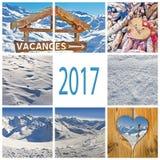 vacanza invernale 2017 in collage della Francia Fotografie Stock