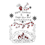 Vacanza invernale della cartolina di Natale del nuovo anno Fotografia Stock