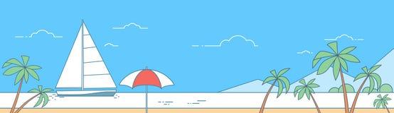 Vacanza Marine Trip Travel Thin Line del mare del crogiolo di yacht della vela, oceano della spiaggia royalty illustrazione gratis