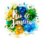 Vacanza sulle macchie di un acquerello del fondo, colori di Rio de Janeiro Brazil dell'iscrizione della bandiera brasiliana, Bras illustrazione vettoriale
