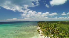 Vacanza tropicale in Punta Cana, Repubblica dominicana Vista aerea sopra l'isola di Saona archivi video