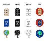 Vacanza, viaggio, passaporto, globo Icone stabilite della raccolta di viaggio e di resto nel fumetto, il nero, profilo, vettore p Immagine Stock