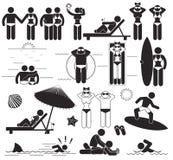 Vacanze della spiaggia di estate Pittogrammi stabiliti del bastone di vettore e vacanze di simboli al mare Fotografia Stock