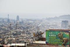 Vacanze estive del mare di vista dei graffiti di Barcellona fotografia stock