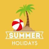 Vacanze estive della carta Palm Beach e palla Fotografia Stock