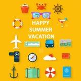 Vacanze estive delle icone in uno stile piano su fondo giallo Fotografia Stock Libera da Diritti