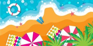 Vacanze estive di vista superiore Tiri il resto in secco Fotografia Stock