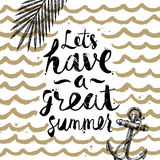 Vacanze estive ed illustrazione disegnata a mano di vacanza Fotografia Stock Libera da Diritti