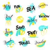 Vacanze estive Logo Set disegnato a mano Feste del mare Fotografia Stock