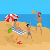 Vacanze estive sull'illustrazione tropicale della spiaggia Immagine Stock Libera da Diritti